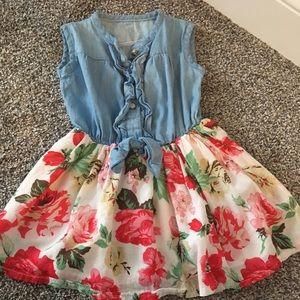 Pretty jean/floral toddler dress. Size 2-3t